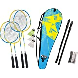 Talbot-Torro Badminton-Set Family, Komplettset mit 2 Juniorschläger 53 cm, 2 Standardschläger, 3 Federbälle, höhenverstellbare Netzgarnitur, in wertiger Tasche