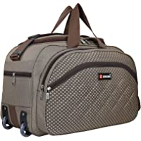 Zion Bag Polyester 40 L Brown Waterproof Lightweight Luggage Travel Duffel Bag with 2 Wheels
