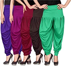 Culture the Dignity Women's Lycra Dhoti Patiala Salwar Harem Pants CTD_D5_A_1 - FREE SIZE - Combo Pack of 5
