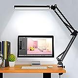 Lampe De Bureau Led Puissante Flexible Secteur Avec Pince,Elekin Lampe De Bureau Led Rechargeable Par USB Dimmable Noire Indu