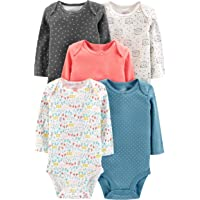 Simple Joys by Carter's - Body a maniche lunghe da bambina, confezione da 5