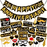 Wobbox 25th Anniversary Photo Booth Party Props DIY Kit with 25th Anniversary Bunting Banner, Golden Glitter & Black , Annive