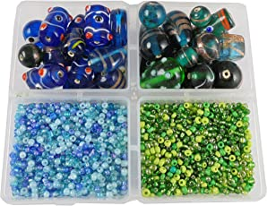 eshoppee 200 gm Handmade lampwork Fancy Furnace Glass Beads Mixing with 8/0 Seed Beads for Jewellery Making Art and Craft DIY kit (Radium/Turquoise)