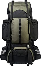AmazonBasics Internal Frame (Hardback) Hiking Backpack with Raincover, 75Liters (Green)
