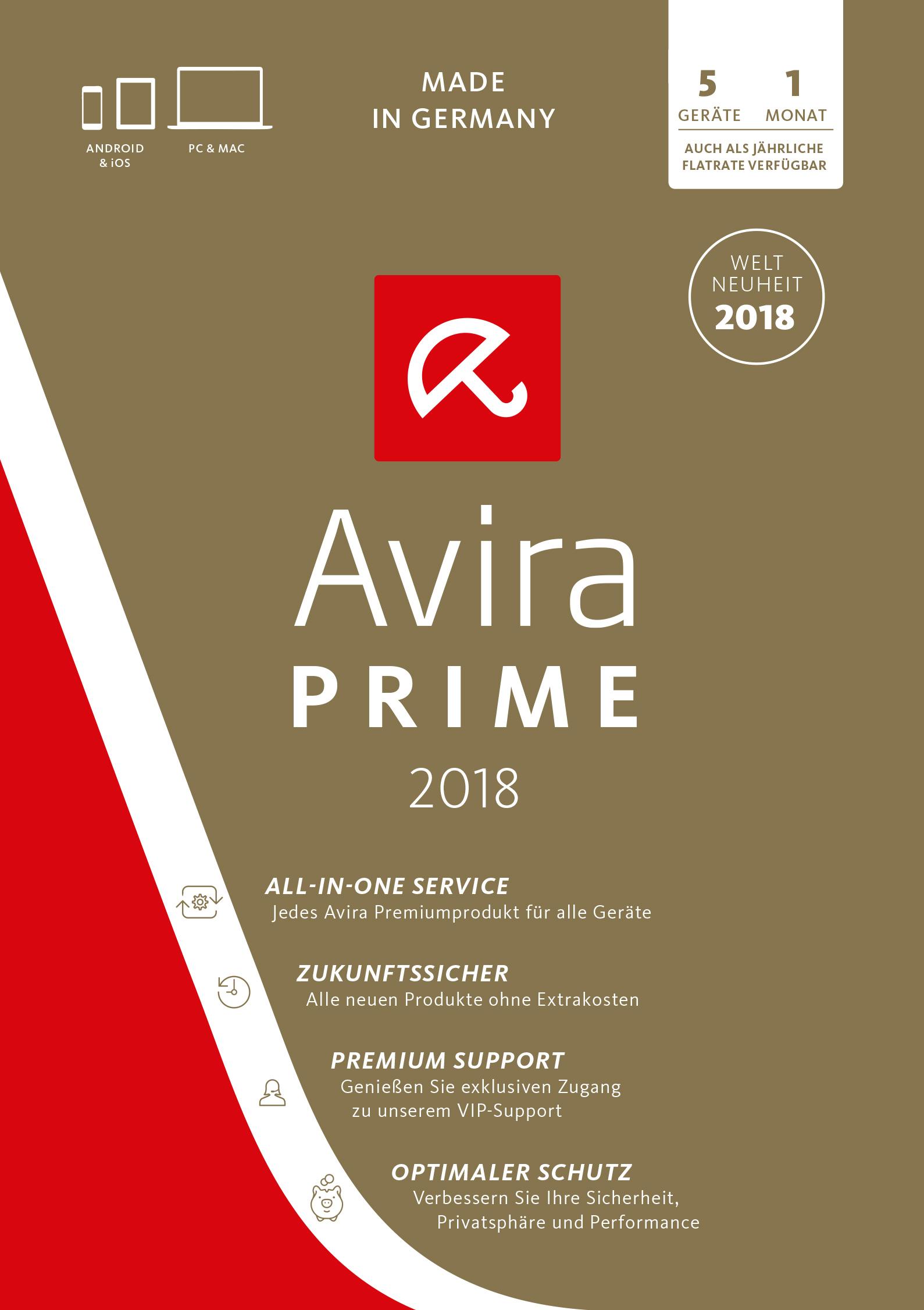 Avira Prime Edition 2018 / All-in-one: Antivirus Pro & Tuning Software inkl. Avira Phantom VPN Pro (Monatslizenz) für 1 User - 5 Geräte / Download für Windows (7, 8, 8.1, 10), Mac, Android & iOS [Online Code]