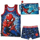 BONNYCO Pijama Niño y Neceser Pequeño Spiderman - Conjunto de Pijama con Camiseta de Tirantes y Pantalón Corto - Incluido Nec