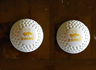 CE Rhino Dimple Silver Hockey Turf Ball- (White) - Pack of 2 Ball
