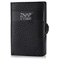 ZNAP Credit Card Holder with Money Clip - Aluminium Wallet with Coin Case - RFID Blocking - Slim Wallet Black Grained…
