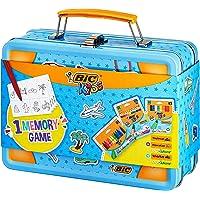 BIC Kids Valise de voyage Memory : Crayons de couleur, Craies, Stylos feutres, 32 pièces Jeu Memory - Couleurs assorties…