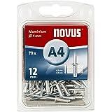 Novus Aluminium klinknagels 12 mm, 70 klinknagels, Ø 4 mm, 6,5-8,5 mm klemlengte, voor bevestiging van kunststoffen en leer