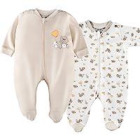 Jacky, Set da 2 pezzi, pigiama con piedini per bambino/Unisex/100% cotone/bianco/beige/certificazione ökotex privo di…