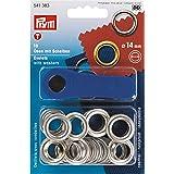 Prym PRYM_541383 oogjes met schijven, messing, zilver, 14 mm