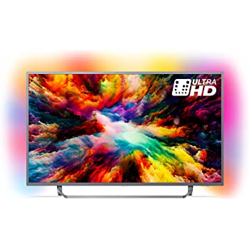Philips 43PUS7303/12 43-Inch 4K Ultra HD Android Smart TV with HDR Plus and Ambilight 3-sided - Dark Silver (2018 Model)
