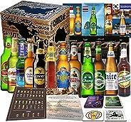 12x BIERE DER WELT, Geschenkidee für Mann zum Geburtstag, Vatertag, Ostern, Geschenkkarton + Tasting Anleitung + 12 x Produkt