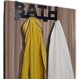 "HOKIPO® Modern Style ""Bath"" Metal Iron Over The Door Hook Hanger for Clothes, Towel, Coat Hanging Hooks Rail, Black"