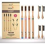 TRIGAL Spazzolini Bamboo,setole Carbone Attivo 100% Biodegradabile,denti tartaro,testina Intercambiabile,gengive Sensibili,sp