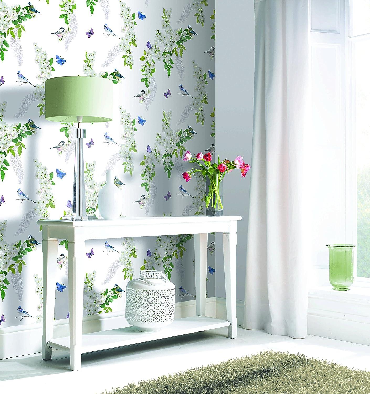 Arthouse Mitzu White Wallpaper Glitter Floral Birds Feathers