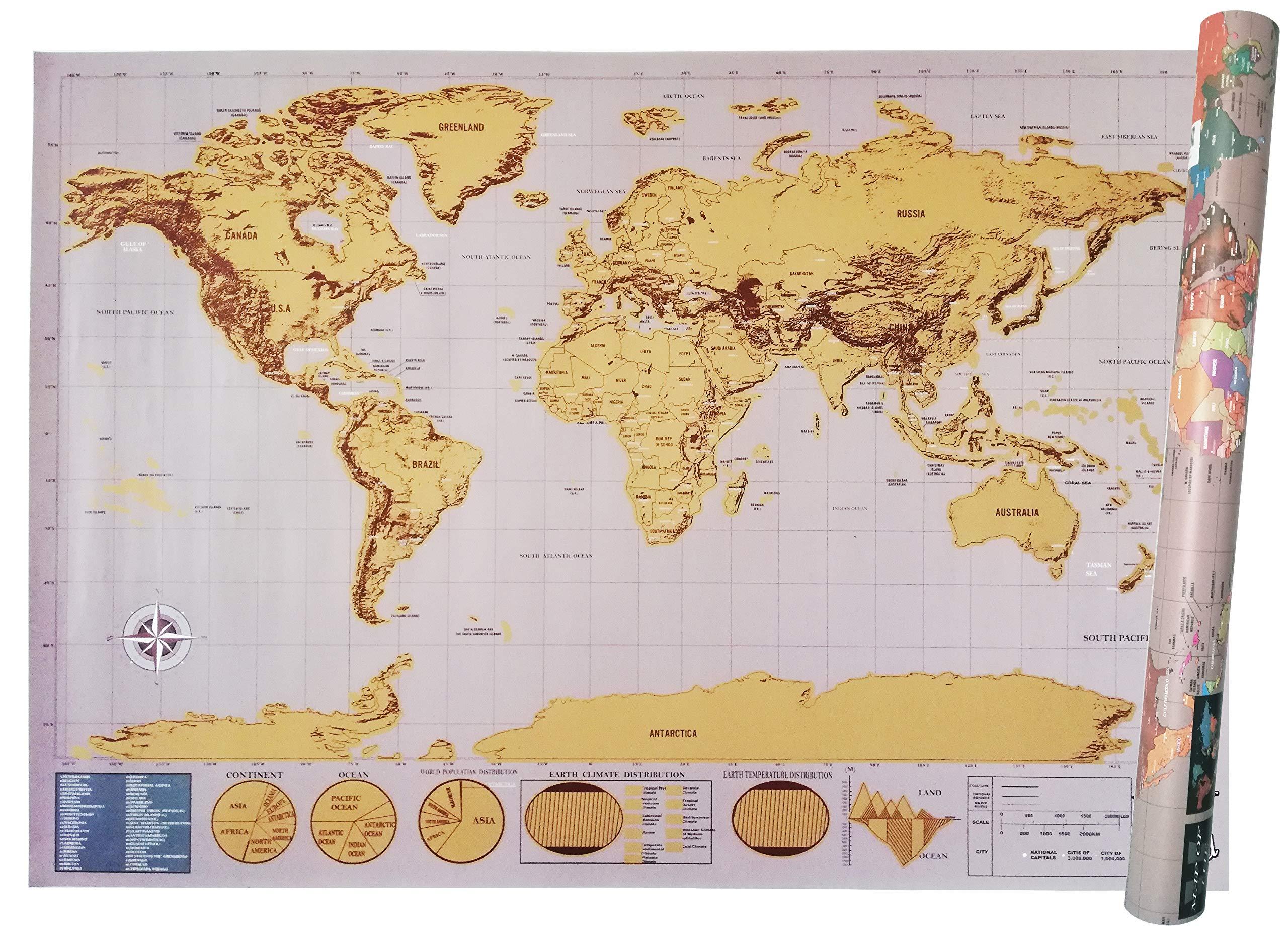 Cartina Mondo Gratta.Mappa Del Mondo Da Grattare Scratch Map Xxl 82 5x59 4 Cm Deluxe Edition Cartina Geografica Fisica Politica Con Nazioni Colorate Grattabili Singolarmente Faceshopping