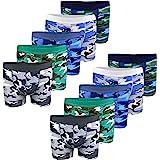 LOREZA ® 10 Calzoncillos bóxer para niño - Algodón - Motivo Camuflaje Militar - Disponibles en Tallas de 2 a 15 años - Pack d