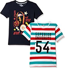 Qube by Fort Collins Boys' Animal Print Regular Fit T-Shirt (Pack of 2)