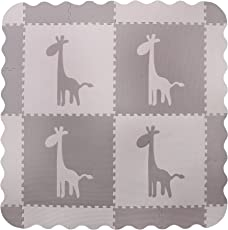 4 grande tappetino da gioco per bambini grigio in rilievo con piastrelle di giraffa - tappetini per giocare con bordi. Ogni piastrella 60 x 60 cm. Totale 1,2m2.