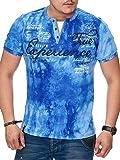 Herren T-Shirt mit Knopfleiste | Verwaschen V-Neck Kurzarm mit Gestickten Details |Sportlich | Elegant Sailing Slim Fit (bis 5XL) 2879