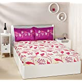 Amazon Brand - Solimo Lily Bloom 144 TC 100% Cotton Double Bedsheet with 2 Pillow Covers, Pink