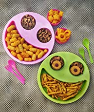 Kieana Multicolor Big Smiley Food Plates for Kids Pack of 2