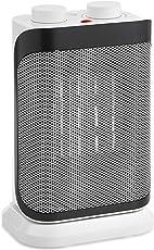 VonHaus 750W/ 1500W PTC Keramik Heizlüfter mit Oszillationsfunktion, 2 Heizstufen und Überhitzungsschutz – Weiß/Grau