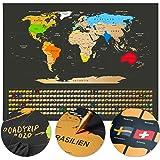 Weltkarte zum Rubbeln - Rubbel Weltkarte - Deutsch 80x60cm: Fotos anheften, Pläne einzeichnen - Scratch off Landkarte zum Freirubbeln - Rubbel Map