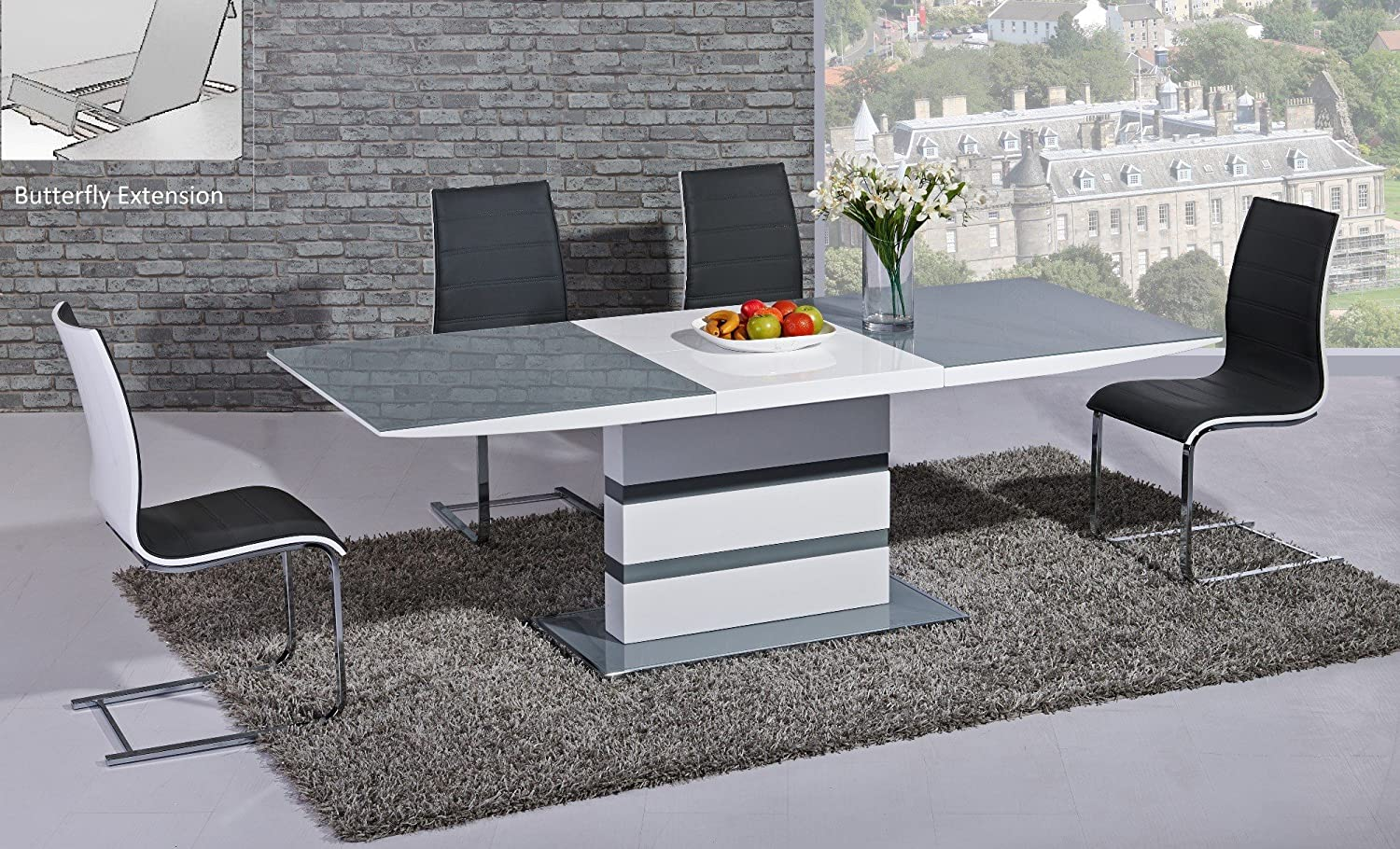 Arctic Extending Dining Table In Grey From Giatalia