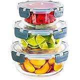 Lot de 3 récipients ronds en verre empilables - Stockage des aliments - Compatible congélateur, micro-ondes, four et lave-vai