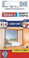 tesa Insect Stop COMFORT Fliegengitter für Fenster - Insektenschutz mit Klettband selbstklebend - Fliegen Netz ohne Bohren - Weiß, 170 cm x 180 cm