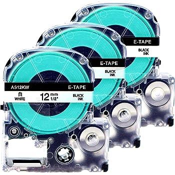 Schriftband kompatibel f/ür Epson/LabelWorks LW-300 LW-400 LW-500 LM-700 LW-900P OK200 OK300 OK500P OK720 OK900P KingJim TepraPro Printing Pleasure 10x AS12KW SS12KW Schwarz auf Wei/ß 12mm x 8m