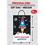 WoW Party Studio Personalized Space Theme Party Return Gift / Goodie Bag with Birthday Boy/Girl Name (10 Pcs)