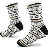 CityComfort Calze a Pantofola lavorate a Maglia per Uomo con Slipper Wool Layer Bed Slippers per Uomo Non Slip Modello Norveg