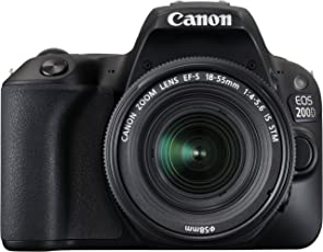Canon EOS 200D 24.2MP Digital SLR Camera (Black) + EF-S 18-55mm f4 is STM Lens + Motorola Pulse Escape Wireless Bluetooth Over-Ear Headphones