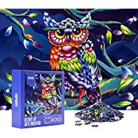 HXMARS Jigsaw Puzzles for Adults Kids: 500-Piece-Puzzles, Game for Family-Color Owl, Illustrated Art with Colorful Owl…