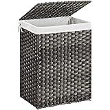 SONGMICS wasmand handgeweven, 90 L, synthetische rotan wasmand, met deksel en handvatten, opvouwbaar, waszak afneembaar, grij