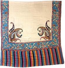 Pashtush Womens Kalamkari Outline Hand Embroidery Pashmina Shawl, Multicoloured Silk Thread and Needlework, Kashmiri Embroidery Design. Heritage Pashmina Collection (45x90 inches)