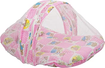 VParents Glamour Baby Bedding Set with Mosquito net and Pillow (Pink)