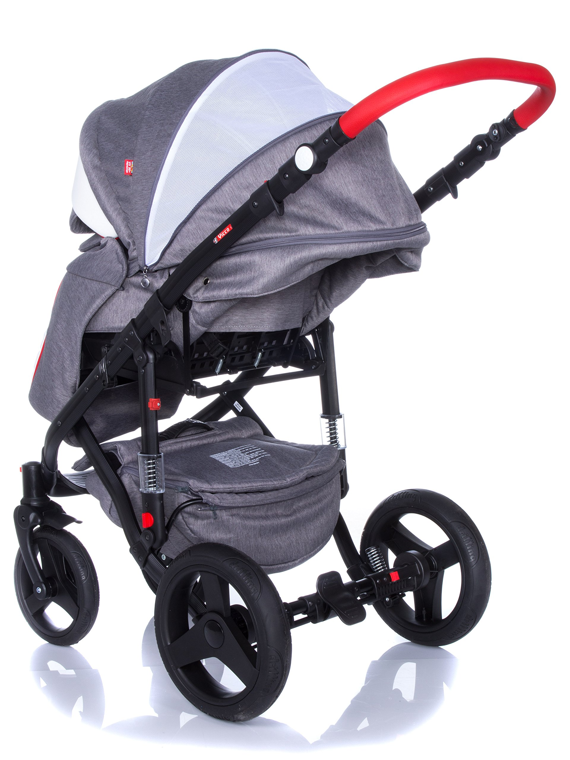 Baby Pram Pushchair Stroller Buggy Travel System Set Adamex Vicco + Baby Bag + Rain Cover + Mosquito Net + (2in1, R2 Red Graphite) Adamex Lockable swivel wheels and lockable side suspension system Light alluminium chassis with gel wheels 50% Ecco Leather and 50% Polyester shell 7