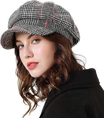 Superora Berretto Donna Invernale Cotone Cappello Beanie Inverno Cotone Motivo a Lattice con Visiera