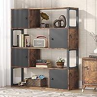 Bibliothèque Étagère livres, Étagère de Rangement à 4 Niveaux, Industrielle Bibliothèque avec armoire, pour Salon…