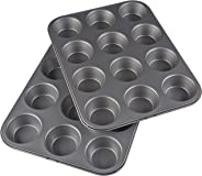 AmazonBasics Non-Stick Carbon Steel 12-Cup Muffin Pan (2 Pack)