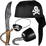 Balinco Piratenset 4-teilig für Kinder bestehend aus Schwarzem Piratenhut + Säbel + Augenklappe + Piratenhaken - Kostüm…
