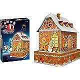 Ravensburger 11237-3D Pussel byggnader med ljus Ginger Bread House - 216 bitar - tredimensionell bygglädje & inget lim behövs