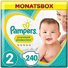 Pampers Premium Protection New Baby Windeln, Gr.2 Mini, 4-8kg, Monatsbox, 1er Pack (1 x 240 Stück)
