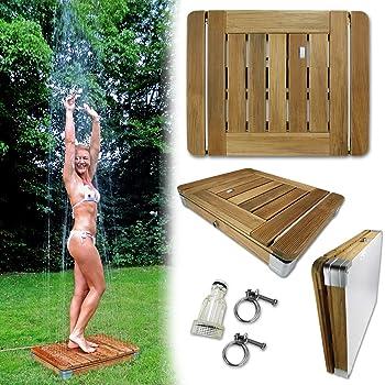 Mobile Outdoor Bodendusche Gartendusche Camping-Dusche aus massivem Teak-Holz - Pool-Dusche, Sauna-Dusche, Aussendusche mit Bodenplatte, Shower