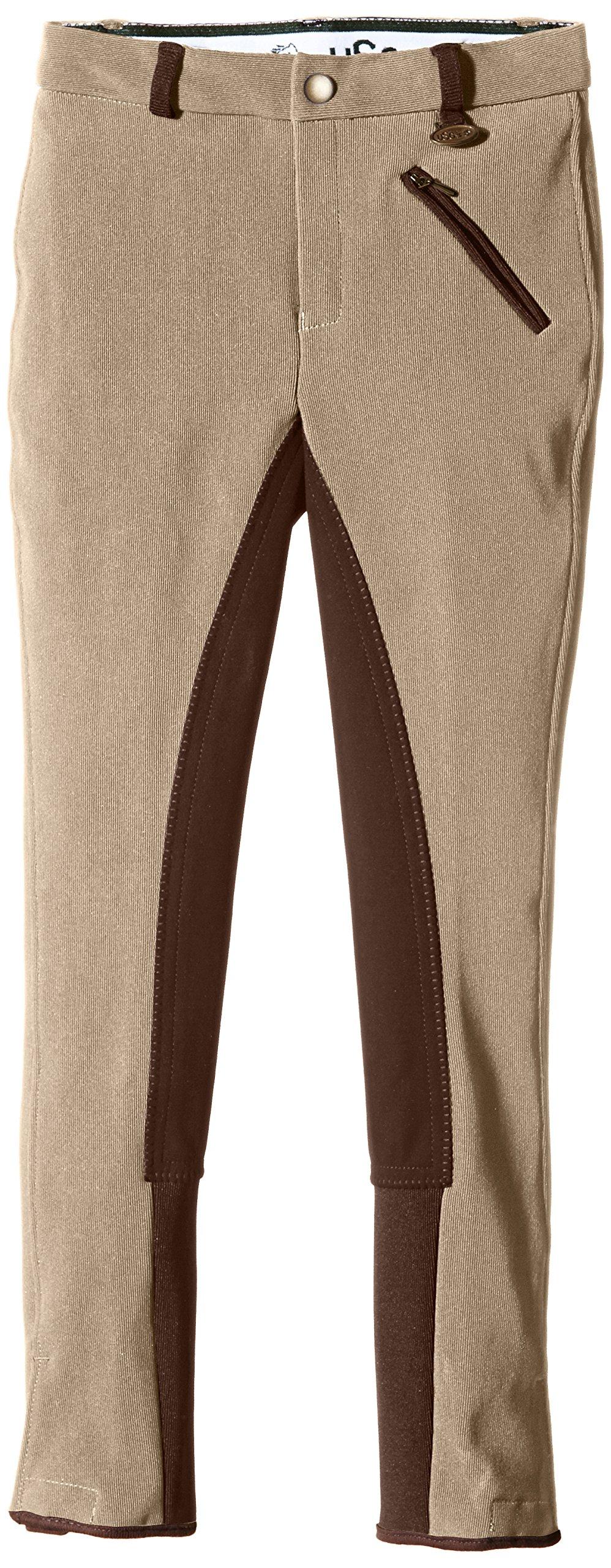 USG United Sportproducts, Pantaloni da equitazione Bambino Melanie, Beige (Beige/Braun), 122 cm